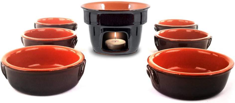 Hornillo tradicional para baño Cauda y fondue + 6 cuencos ...