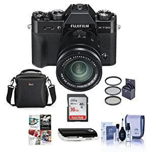 Fujifilm X-T20 24.3MP Mirrorless Digital Camera with XC 16-50mm f/3.5-5.6 OIS II Lens, Black - Bundle with Camera Case, 16GB SDHC Card, 58mm Filter Kit, Cleaning Kit, Card Reader, Software Package