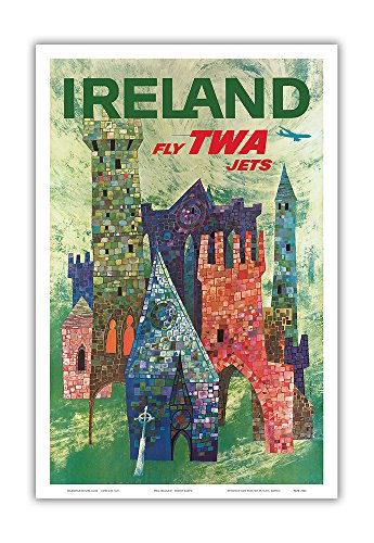 Ireland - Fly TWA Jets - Trans World Airlines - Boeing 707 Over Irish Colorful Castles - Vintage Airline Travel Poster by David Klein c.1960 - Master Art Print - 12in x 18in
