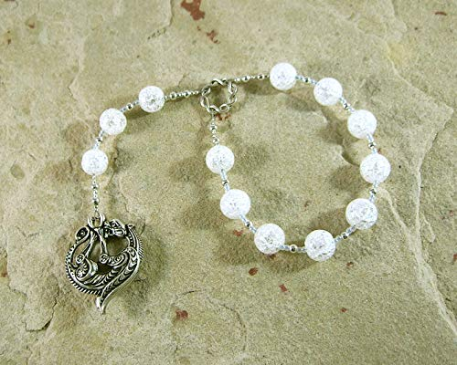 Skadhi (Skadi) Pocket Prayer Beads in Cracked Crystal Quartz: Norse Goddess of Winter, the Wilderness, Mountains, Skiing and Archery