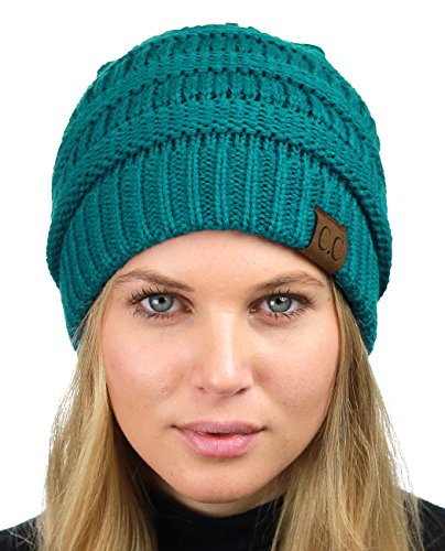 C.C Unisex Chunky Soft Stretch Cable Knit Warm Fuzzy Lined Skully Beanie, Teal