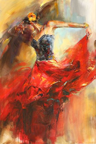 OSM ART Professional Artist Directly Supply Hand-painted Spanish Dancer Oil Painting On Canvas Red Skirt Flamenco Dancer Oil Painting