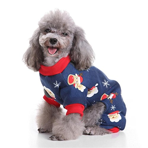 Pet Clothes,IEason Hot Sale! 2017Cool And Cute The Christmas Clothing Pet Cat Dog Costume (S, Navy)
