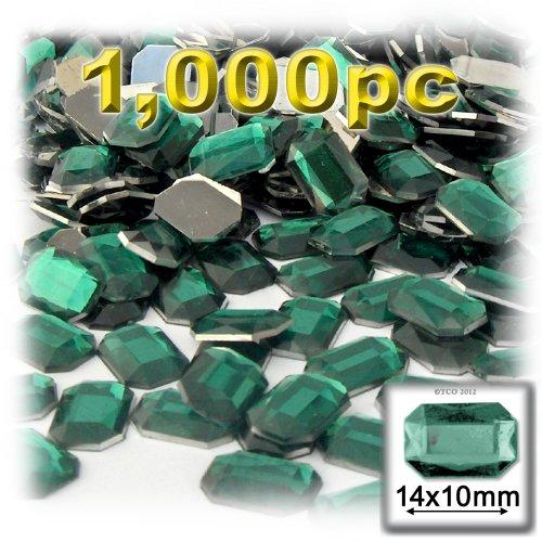 長方形の八角形クラフトアウトレット144アクリルアルミ箔フラットバックラインストーン、10by 14mm、エメラルドグリーンの商品画像