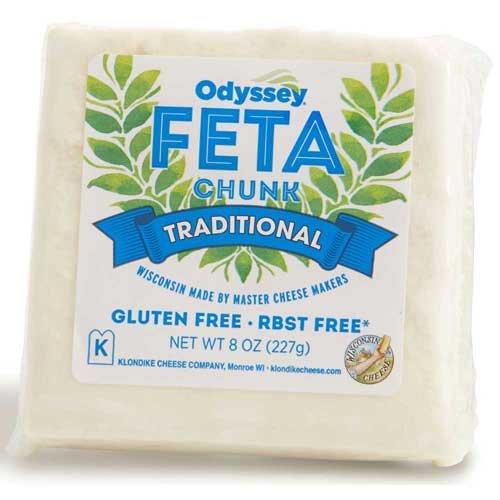Odyssey Traditional Feta Cheese Chunk, 8 Ounce - 12 per case.