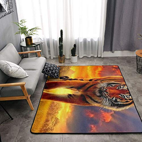 - YOUNG H0ME Bedroom Livingroom Sitting-Room King Size Kitchen Rugs Home Decor - Big Tiger King Doormat Floor Mat Fast Dry Toilet Bath Rug Exercise Mat Throw Rugs Runner