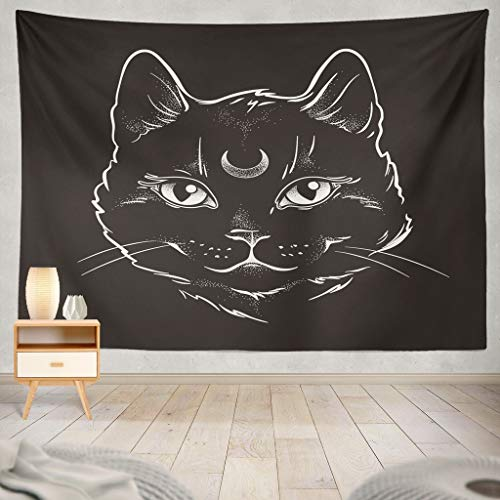 KJONG Cute Black Cat with Moon Line Art and Dot Work Spirit Halloween Theme Animal Art Black Cartoon Cat CreepyDecorative Tapestry,50X60 Inches Wall Hanging Tapestry for Bedroom Living Room