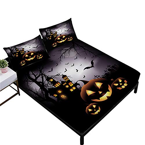 Rhap Sheets Full Size, Cartoon Halloween Printed Full Size Bed Sheets Set of 4 Pieces, Dark Pumpkin Halloween Decor Full Size Fitted Sheet Set -