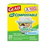 Glad Compostable OdorShield Quick-Tie Small Trash Bags, Fresh Clean Scent, 2.6 Gallon, 20 Count