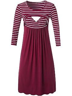515e5ed9d12 Liu   Qu Women s Sleeveless Nursing Dress Stripe Maternity Dress  Breastfeeding Clothes