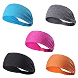 Set of 5 Women's Yoga Sport Athletic Headband For Running Sports Travel Fitness Elastic Wicking Non Slip Style Bandana Basketball Headbands Headscarf fits all Men & Women (Style 1 - 5 Color) Sea Blue, Grey, Rose Red, Dark Grey, Orange