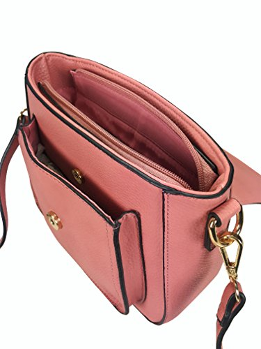 Color Handbag Additional Handle Cross Body Chain With Rose SHq1SRywg