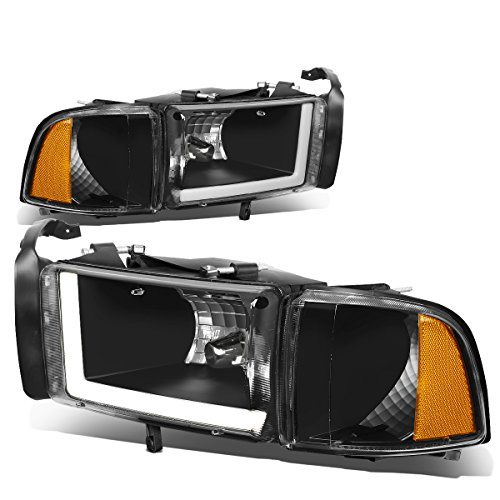 For 94-01 Dodge Ram (Non-Sport Model) LED DRL Black Housing Amber Corner Headlights/Lamps - Pair ()