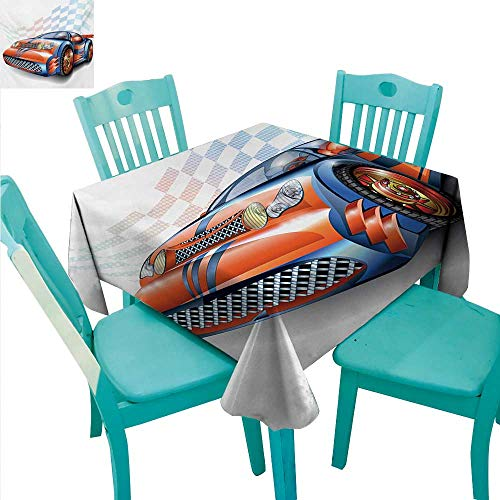 WilliamsDecor Cars Fabric Dust-Proof Table Cover Cartoon Style Speeding Racing Car Event Championship Racetrack Victory Drive Indoor Outdoor Camping Picnic 50