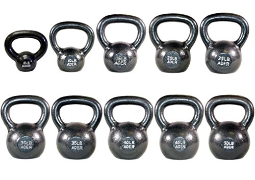 Ader Premier Kettlebell Set w/ DVD- (5, 10, 15, 20, 25, 30, 35, 40, 45, 50 Lbs) by Ader Sporting Goods