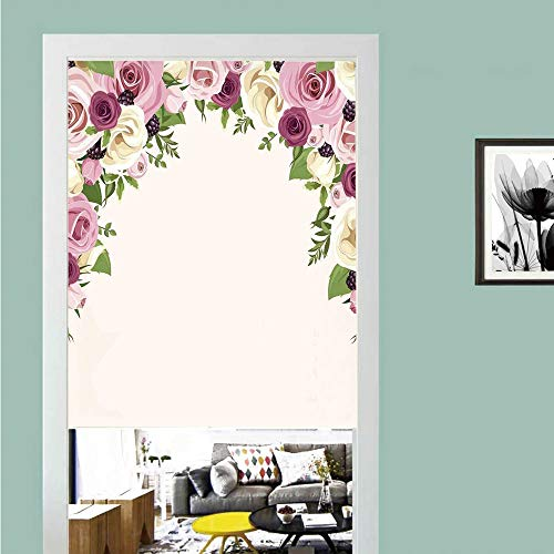 - SCOCICI 3D Printed Magic Stickers Door Curtain,Roses Decorations,Roses and Lisianthus Berries Arch Decoration Marriage Gatherings Artistic Design,Privacy Protect for Kitchen,Bathroom,Bedroom(1 Panel)