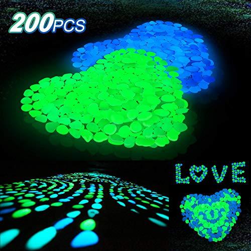 Averill Bay 200 Pcs Glow in The Dark Rocks/Pebbles for Walkways and Decor in Bule & Green, Glowing Resin DIY Decorative Rocks for Driveway/Pathway/Flower Bed/Garden/Fish Tank/Aquarium/Landscape]()