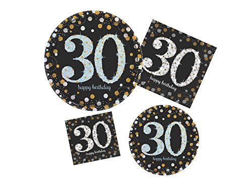 30th Birthday Party Supply Pack! - Sparkling Celebration Design - Disposable Dinnerware - 16 Guests - Includes Dinner Plates, Dessert Plates and (30th Birthday Tableware)