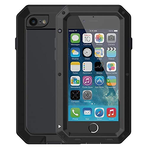 Mangix iPhone 6/6S Case, Built-in Glass Luxury Aluminum Alloy Protective Metal Extreme Shockproof Military Bumper Finger Scanner Cover Shell Case Skin Protector for Apple iPhone 6/6S 4.7inch (Black)