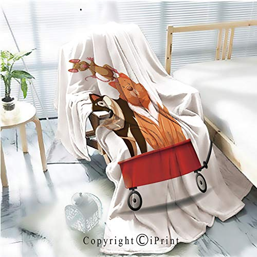 AngelSept Printed Throw Blanket Smooth and Soft Blanket,Dog and cat on red Wagon for Sofa Chair Bed Office Travelling Camping,Kid Baby,W31.5 x H47.2