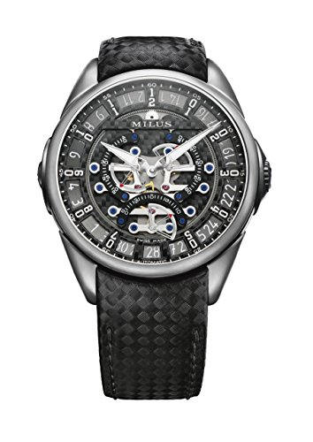 Milus Tirion Tri-Retrograde Mens Automatic Titanium Watch - 45mm Skeleton Face with Luminous Hands, Date and Sapphire Crystal - Swiss Made Leather Band Luxury Unique Novelty Watch for Men TIRI700 ()