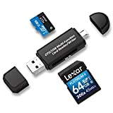 Philonext Memory Card Reader, SD/Micro SD Card Reader and Micro USB OTG to USB 2.0 Adapter with Standard USB Male Micro USB Male Connector for PC and Notebooks Smartphones/Tablets with OTG Function