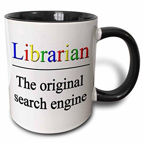 3dRose mug_202958_4 Librarian The Original Search Engine Mug, Black, 11 oz