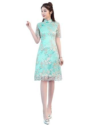 12d66e041f95 Drasawee Women s Sweet Lace Knee Length Semi Formal Dress Sleeves Evening  DressesUS0 Green