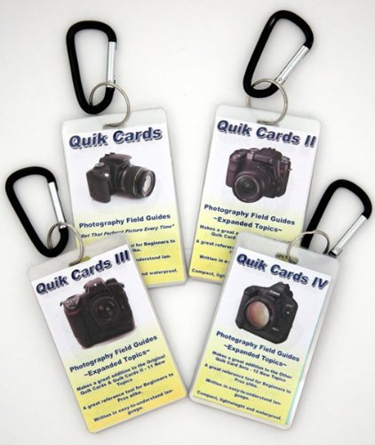 4-Pack Cheatsheets- Pocket sized quick reference cards. Learn to take breath taking photos every time you use your camera. Digital Camera Guide, Photography Manual, Tips for use with Digital or Film SLR cameras. Use with Canon, Nikon, Olympus, Sony, Fuji, Pentax, Contax, Leica, Mamiya, Hasselblad, Bronica and more