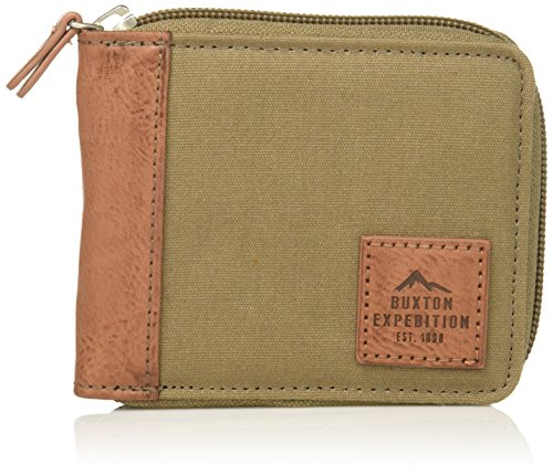 Buxton Men's Expedition II Huntington Canvas RFID Blocking Zip-around Wallet, Olive, One Size