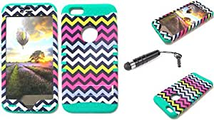 CellTx Shockproof Hybrid Case For Apple (iPhone 6 Plus) and Stylus Pen, Teal Soft Rubber Skin with Hard Cover (Chevron, Waves, Yellow, Pink, Blue, White) AT&T, T-Mobile, Sprint, Verizon, Boost Mobile, U.S Cellular, Cricket by mcsharks