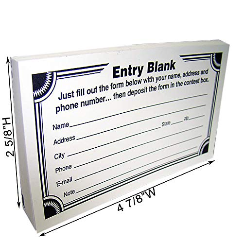 (Blank Contest Entry Forms, 100 Sheets Per Pad (Pack of 25))
