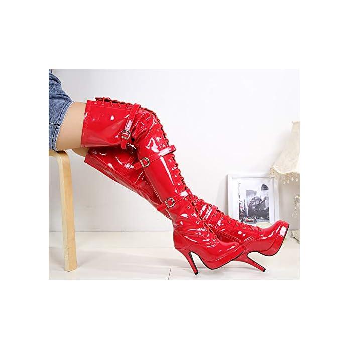 Heeled Stivali gul 13 Centimetri ginocchia Donne Boots Lacca Palloni elastic High foti Boots
