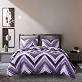Blue and Purple Duvet Cover Encoft Chevron Purple Bedding Gray Blue and Purple Chevron Prints Lightweight Microfiber Duvet Cover Set 3 Pieces Bedding Sheets Set, Full/Queen Size (1duvet Cover, 2pillowcases)