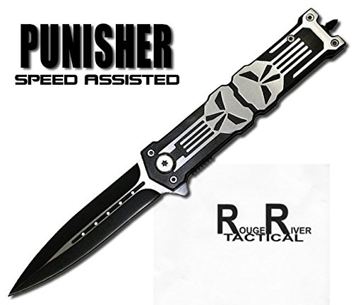 Rogue River Tactical Punisher Glass Breaker Spring Assisted Knife Black Special Forces - Special Glasses