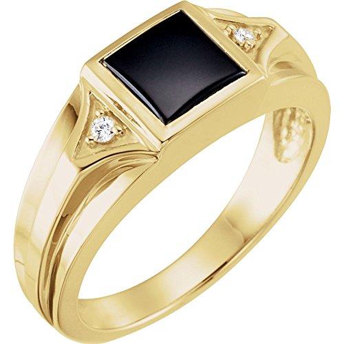 14k Yellow Gold Onyx & Diamond Men Gents Gemstone Ring