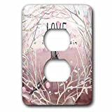 3dRose Uta Naumann Sayings and Typography - Dark Pink Spring Bird Postman Animal Illustration - Love Is In Air - Light Switch Covers - 2 plug outlet cover (lsp_275597_6)