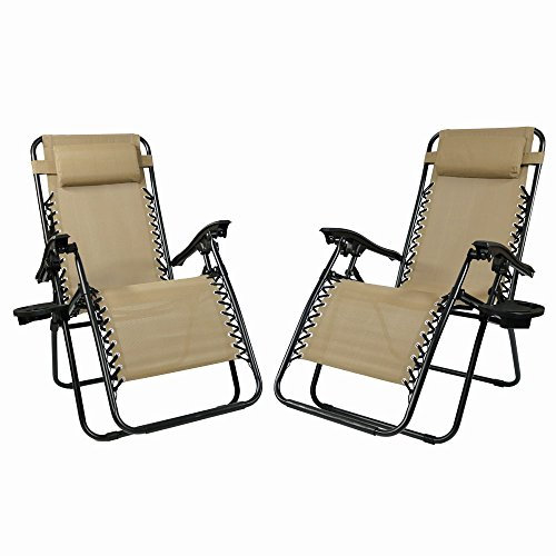 Sunnydaze Outdoor Zero Gravity Lounge Chair with Pillow and Cup Holder, Folding Patio Lawn Recliner, Set of 2, Khaki