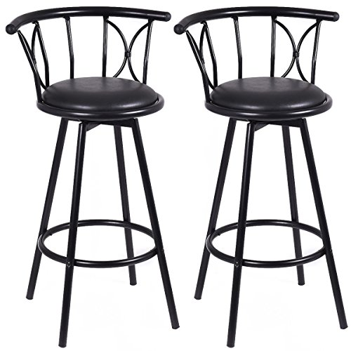 COSTWAY New Black Barstools Modern Swivel Rotatable Chairs Steel Counter Height,Set Of 2