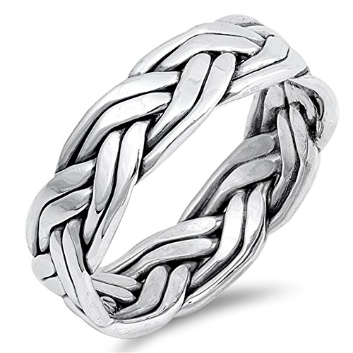 Celtic Weave Rope Knot Wedding Ring New .925 Sterling Silver Band Sizes 7-13
