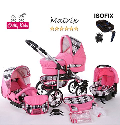 Chilly Kids Matrix II cochecito Safety de verano de Juego (sombrilla, Auto asiento & Base Isofix, protector de lluvia, mosquitera, ruedas giratorias) 23 Schwarz & Schwarz 51 Rosa & Karo