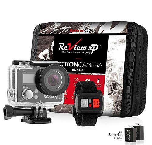 Review XP C300 Action Camera 4K 16MP Ultra HD Sports Waterproof Wi-Fi 170° Wide Angle Lens DV Digital Camcorder 2.4g Remote Control, 2 Batteries 1050mAh, 20+ Mounting Kits + Carrying Case - Black