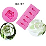 Efivs Arts EA1384-85 Succulent Flower Silicone Fondant Mold for Cake Cupcake Decoration Gum Paste Mold Chocolate Mold