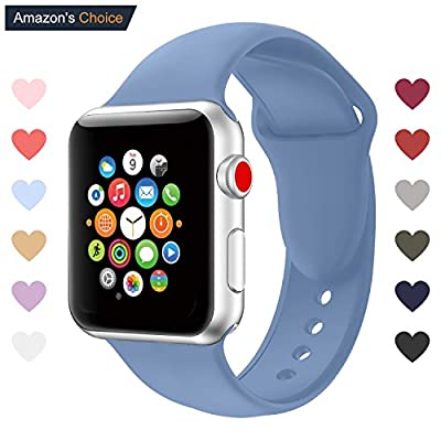 Youther For Apple Watch Bands, Soft Silicone Strap Replacement Wristbands for Apple Watch Sport Series 3 Series 2 Series 1 Black 42mm 38mm M/L S/M from Youther