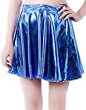 Women's Casual Fashion Flared Pleated A-Line Circle Skater Skirt (Blue, XL)