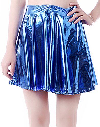 HDE Women's Casual Fashion Flared Pleated A-Line Circle Skater Skirt (Blue, XL)