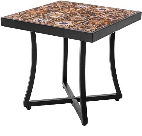 Mesa de jardín de Hierro con Mosaico marrón para terraza Garden - LOLAhome: Amazon.es: Hogar