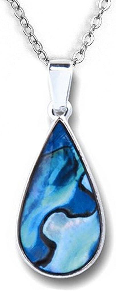 Abalone-Muschel Paua Muschel Strass Streifen Versilbert Halskette Anhänger Mode