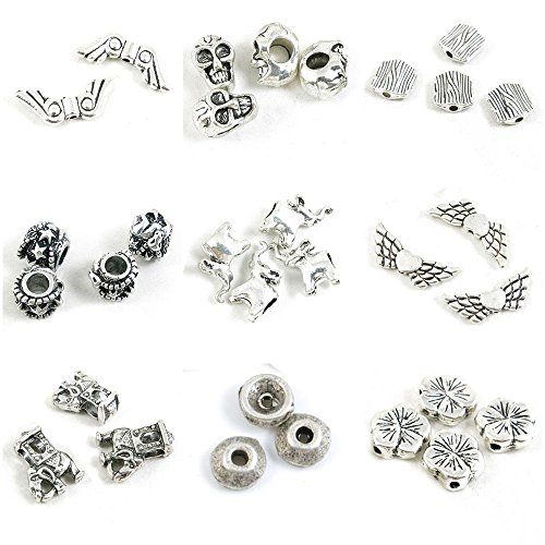 31 Pieces Antique Silver Tone Jewelry Making Charms Cherry Blossoms Loose Beads Flat Spacer Caps Thai Elephant Angel Wings Sheep Stripes Skull Head