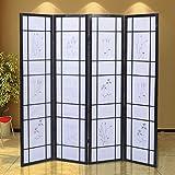Generic LQ..8..LQ..0860..LQ reen St Screen Style Shoji owered Room Divider oji Solid Wood id Wood 4 Panel Flowered w Black New US6-LQ-16Apr15-3208